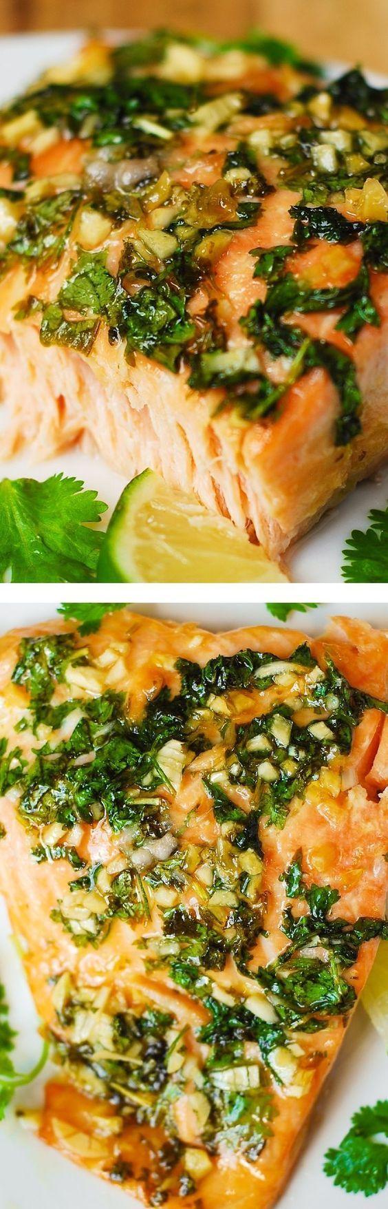 Cilantro-Lime Honey Garlic Salmon Recipe (baked in foil)