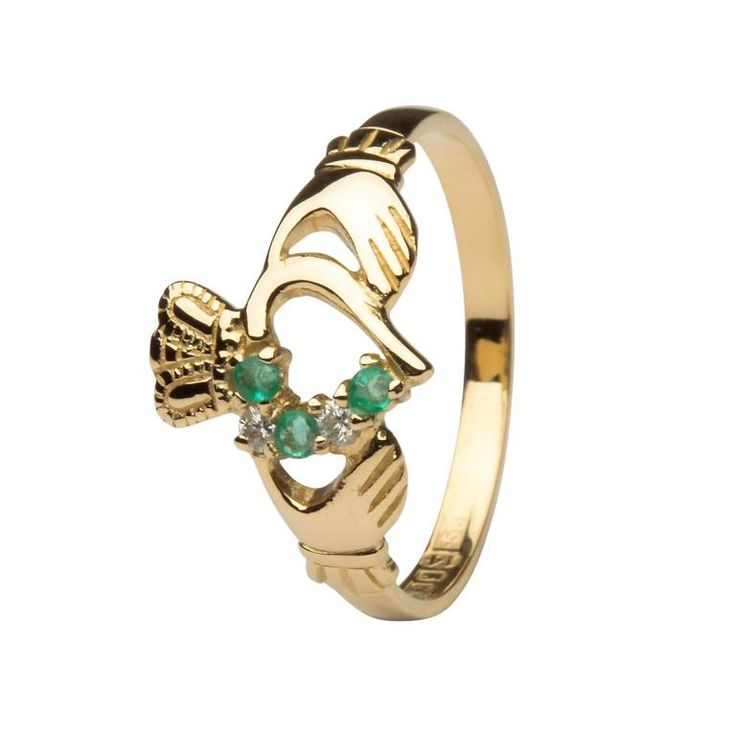 This Magnificent Design has claw set Diamonds with Emeralds and is Presented In 14 Karat Yellow Gold .It has been made made in ShanOre Dublin, and assayed in the Dublin Assay Ofice