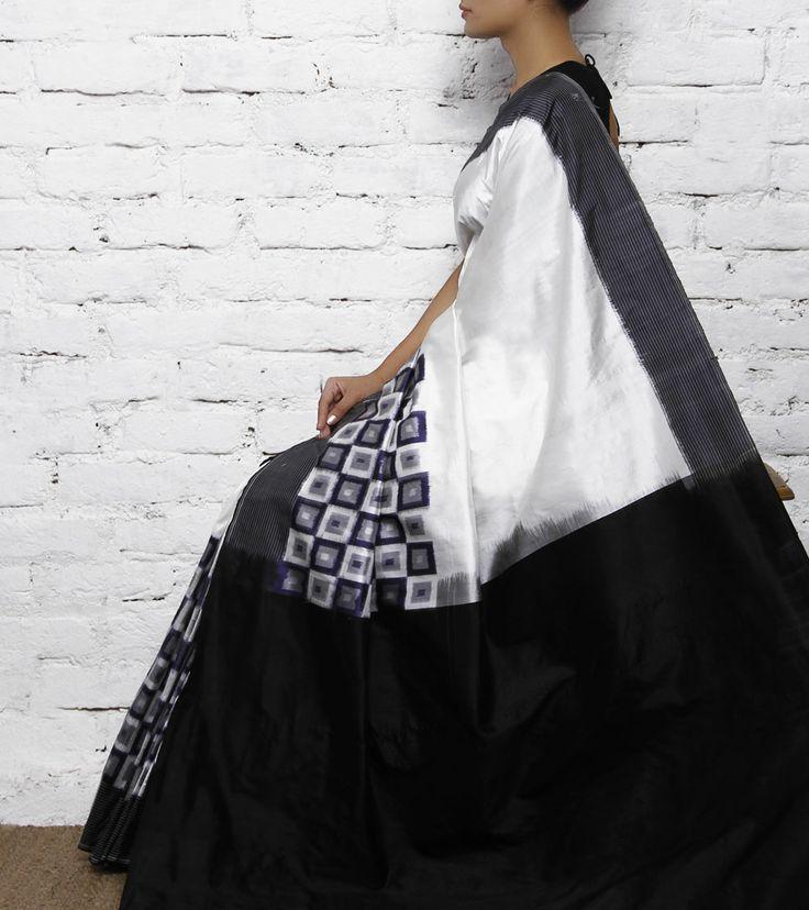 Black & White Silk Ikat Saree