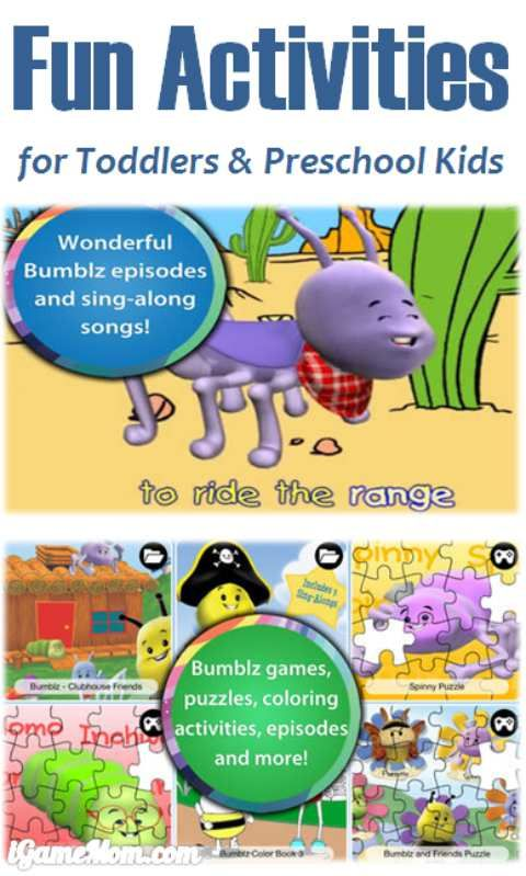 Free app of tons fun activities for toddlers preschool kids, games, sing along, puzzle, coloring, and more.