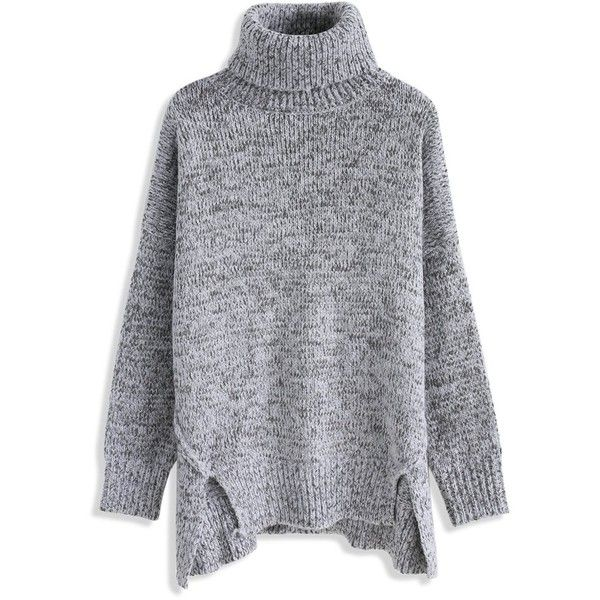 Chicwish Warm My Soul Turtleneck Sweater in Grey (925 ARS) ❤ liked on Polyvore featuring tops, sweaters, grey, long sleeve turtleneck top, leather tops, turtleneck sweater, gray turtleneck and grey long sleeve sweater