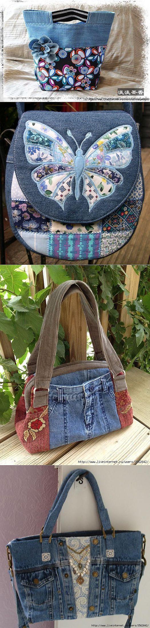 Bolsa 1: ideia para alça Bolsa 3: reciclagem de jeans