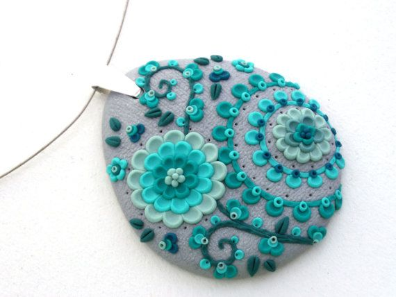 Polymer Clay Turquoise Floral Pendant Necklace by MemecoShop on Etsy