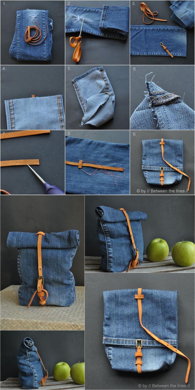 Ingenioso bolso reciclando un pantalón vaquero / Via…