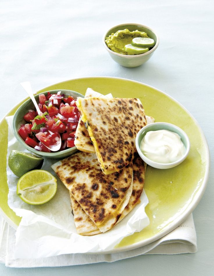 Cheese and olive quesadillas