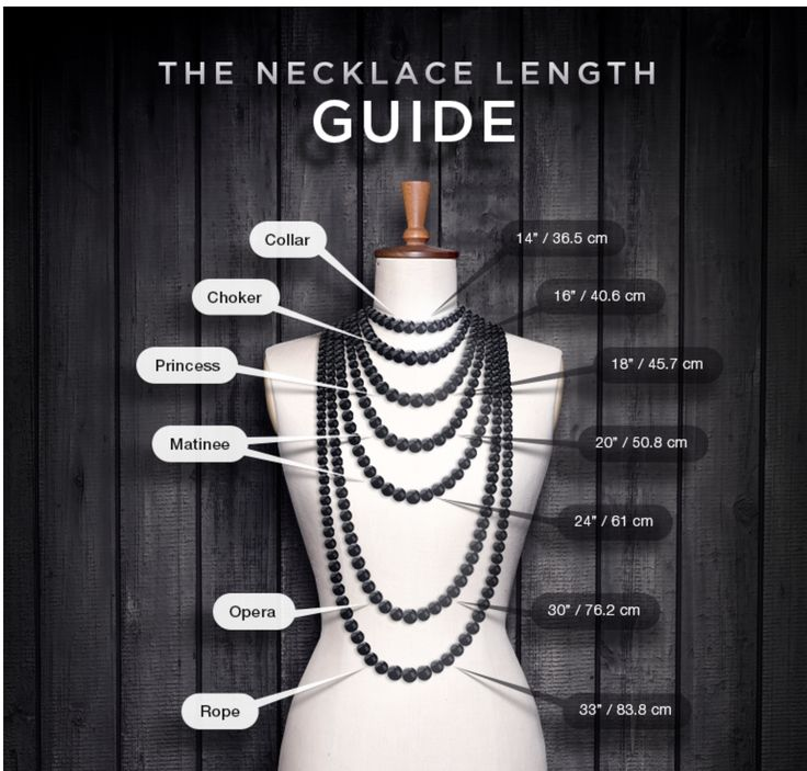 This is the typical sizes for necklaces. (With images