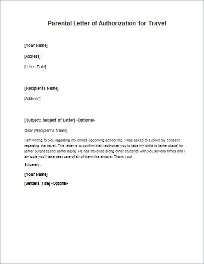 Parental Consent Letter For Work Sample Authorization Letter