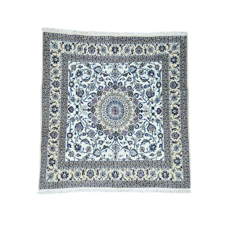 Hand-Knotted Square Nain Wool And Silk Carpet (8'x8'1″) | Overstock.com Shopping – The Best Deals on One Of A Kind Rugs