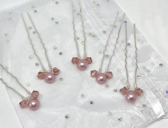 Dusky Pink Hair Pins - Swarovski Pearl & Crystal £9.50
