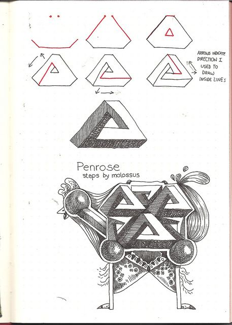 Tangle pattern Penrose by molossus, who says Life Imitates Doodles, via Flickr