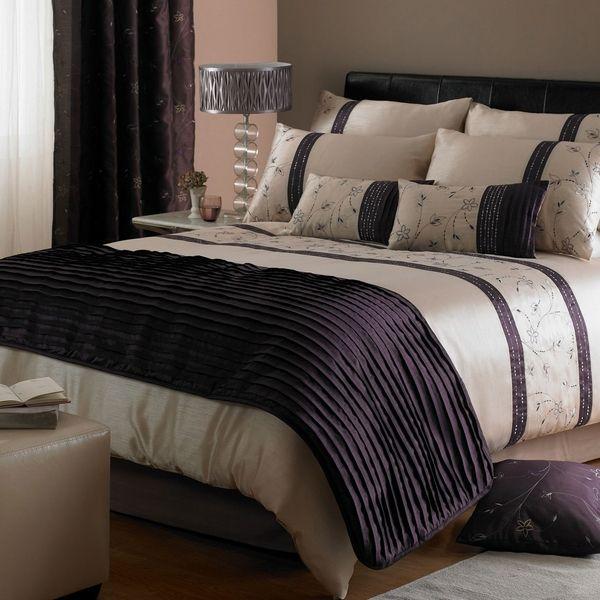 edredón de cama contemporánea establece púrpura de color beige ideas de diseño dormitorio moderno