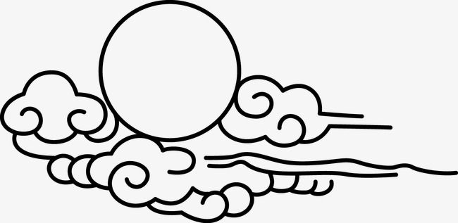 Line Drawing Clouds Moon Line Vector Moon Vector Moon Clipart Png And Vector With Transparent Background For Free Download Wave Drawing Cloud Drawing Drawings