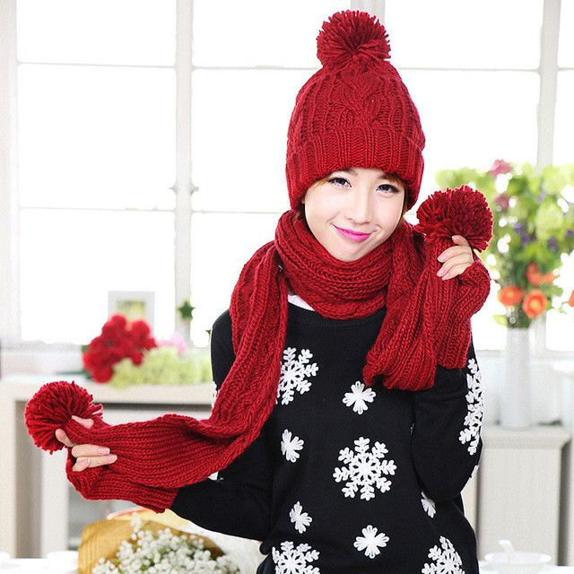 CIVICHIC Korea Style Woman Knitted Gloves Hat Scarf 3 Piece Warm Set Thicken Pompon Beanies Skullies Solid Headwear Shawl SH153