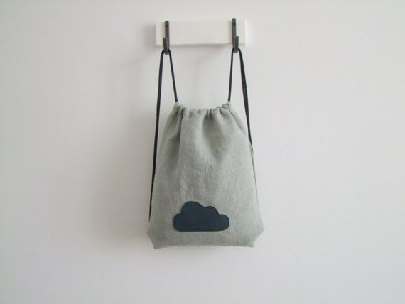 grey backpack with blue cloud pattern linen for children gym