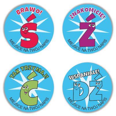 """Naklejki """"Dla logopedów - GŁOSKI CZISZĄCE"""" (40mm, 120 szt.) + nazwa szkoły/przedszkola/firmy SzkolneNaklejki.pl"""