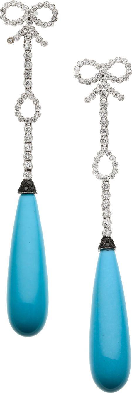 Turquoise, Diamond, Black Diamond, White Gold Earrings, by Eli Frei