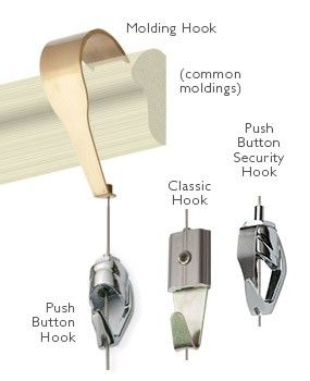 Traditional Picture Rail System (molding system) can be used with the Push Button Hook, Allen Key Hook (classic) or Push Button Security Hook.