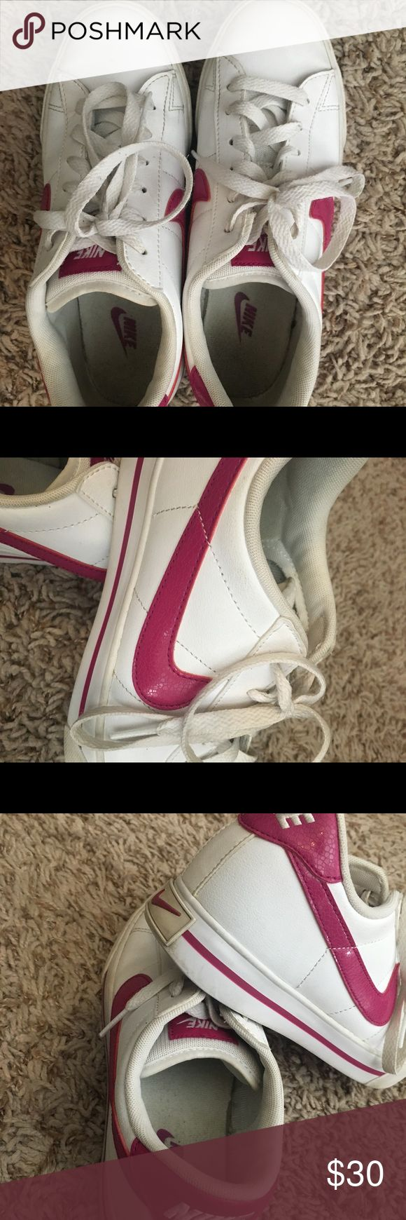 LADIES NIKE SHOES White and pink, ladies size 7 NIKE'S. Worn, but well taken care of and plenty of life left in them! Cute and comfy!! Nike Shoes Sneakers