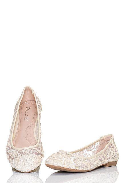 Bailarinas zapatos mujer bajos encaje floral transparente, Marrón Beis