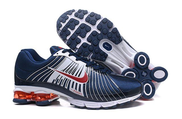 detailing 29f6e d45c7 Dependable Nike Air Shox Fabrique 2018 White Navy Blue Red Shox Nz Mens  Running Shoes Trainers