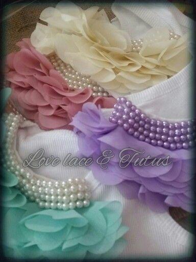 Embellished singlet - pearl -ruffle- chiffon