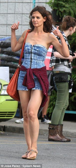 Katie Holmes films a scene at Walmart for her new movie ...
