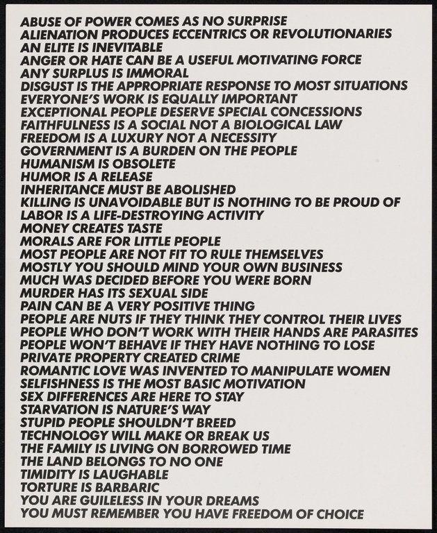 Jenny Holzer truisms | Truisms, Jenny Holzer