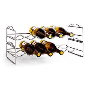Our 6-Bottle Stackable Wine Rack is made of sturdy, clear-coated steel.  It makes a wonderful gift for newlyweds, new homeowners and wine connoisseurs.