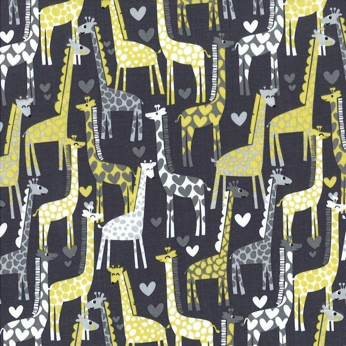 Michael Miller - Citron Giraffe Love - Gray