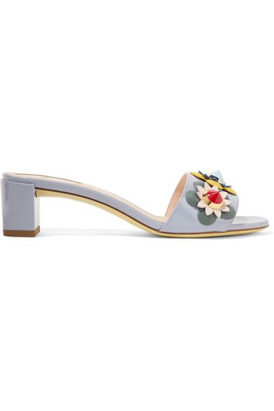Heel measures approximately 50mm/ 2 inches Cornflower-blue patent-leather Slip on Made in Italy