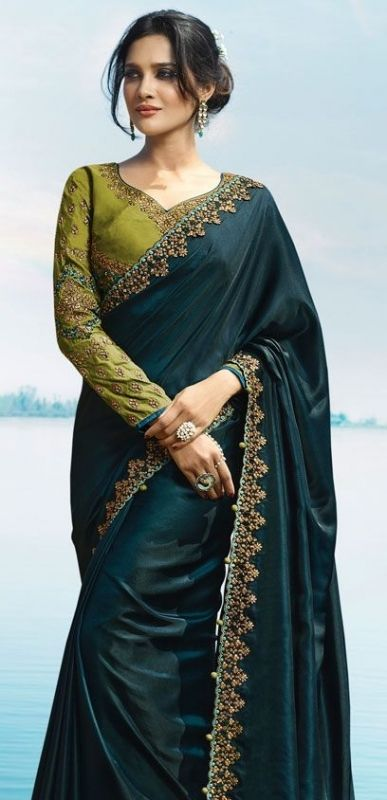 7d5b4d76e8 Buy Blue Color Barfi silk designer party wear saree in UK, USA and ...
