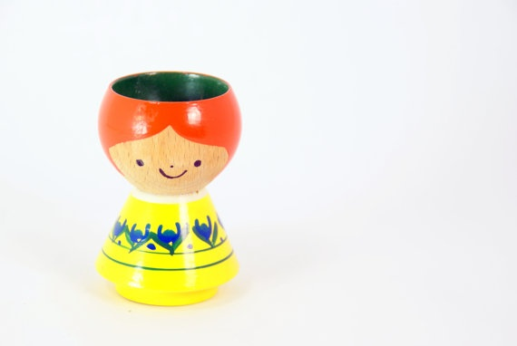 Vintage Danish Painted Egg Cup Holder by LarchTradingCompany, $12.00