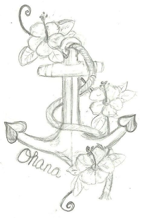 so i have been wanting to get a tattoo to represent my kids and what them my family meant in my life here is a sketch i drew up 3 floweers for my 3 kids anchor and Ohana (ohana means family) anchor cause my kids and family are a anchor in my life i think - Photo - Backensto Web Site - MyHeritage