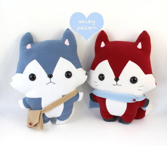 "PDF Plush sewing patterns - Husky Wolf & Fox kawaii plushie - easy cute DIY soft toy stuffed animal 14"""