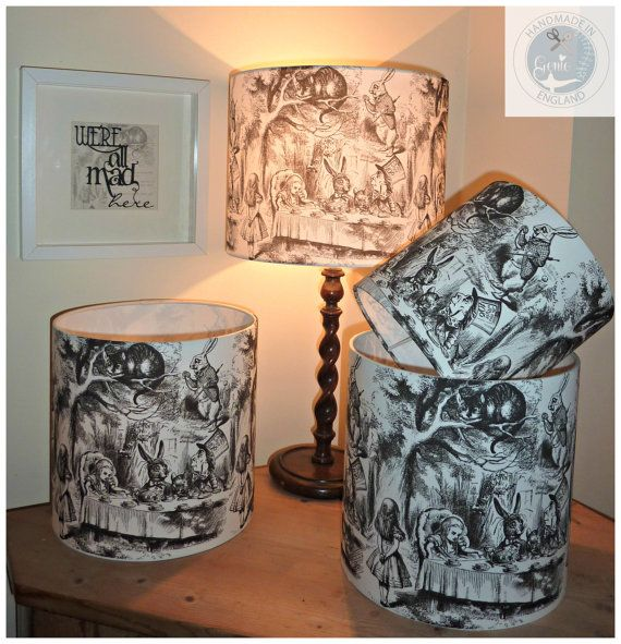 Alice in Wonderland Curiouser & Curiouser the perfect lampshade for all you Alice in Wonderland fans out there. Genie just loves Sir John Tenniels illustrations featuring Alice (of course), The Mad Hatter Tea Party scene, The White Rabbit and the Cheshire Cat to name a few!  Free UK Delivery  As stocked in the famous Alices Shop Oxford.  Available in 15, 20, 25,30, 35 and 40 cm diameter lampshades in a circular drum shade or oval option for 30 cm diameter shades only. Which size should I ...
