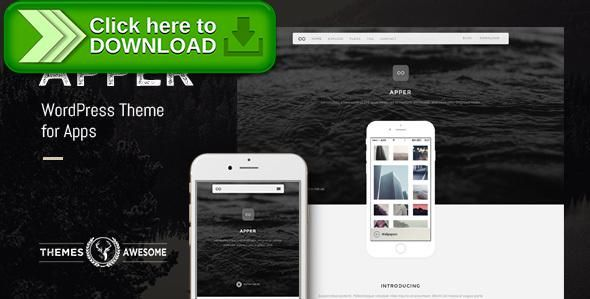 [ThemeForest]Free nulled download Apper - WordPress Theme for Apps from http://zippyfile.download/f.php?id=1826 Tags: android, app, creative, ios, ipad, iphone, landing, minimal, one page, page builder, phone, startup, tablet, windows phone