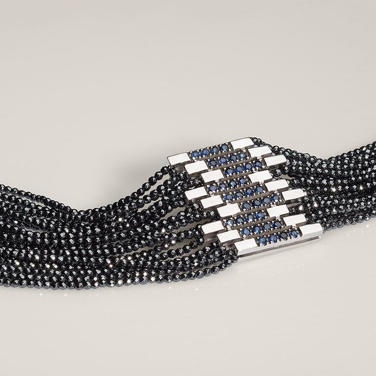 Andromeda Necklace with hematite gemstones | Clasp: Platinum plated Sterling Silver 925 with blue Sapphires