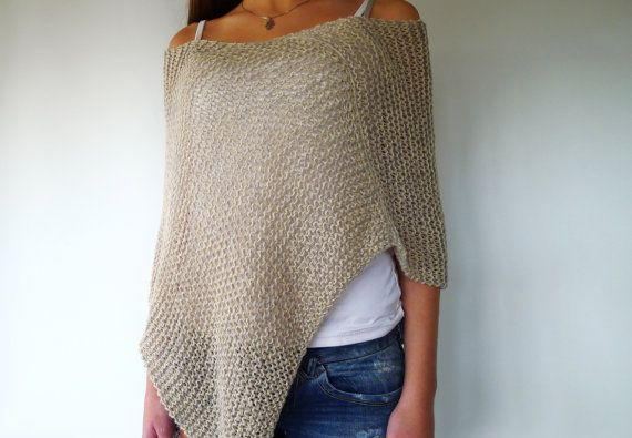 Grey knit summer poncho. Loose knit poncho. Long slouchy top. Knitted poncho for women. Gift idea for her