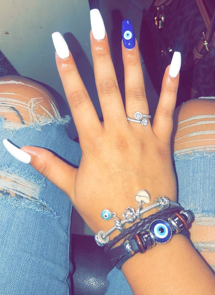 Evil Eye Nails Evil Eye In 2020 Evil Eye Nails Eye Nail Art Blue Acrylic Nails