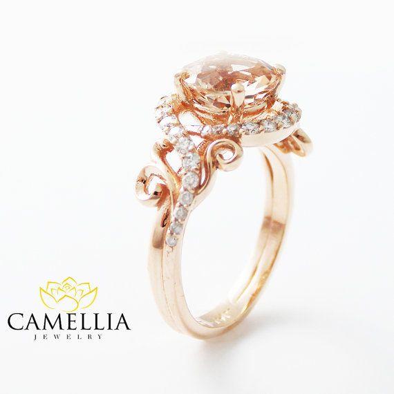 14K anillo de compromiso oro rosa oro rosa morganita anillo Morganita rosa melocotón anillo de compromiso único anillo de compromiso