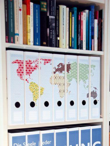 Ordnerrücken Weltkarte pattern