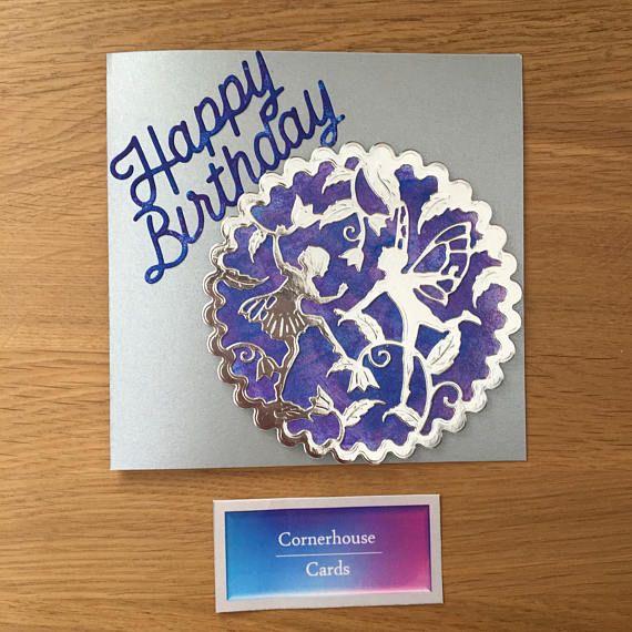 Fairy birthday card happy birthday little girl purple and