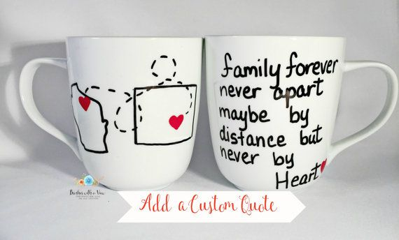 Long distance Mug , Personalized state or country outline coffee mug, Mug is suitable for a family moving away gift or a family member that is