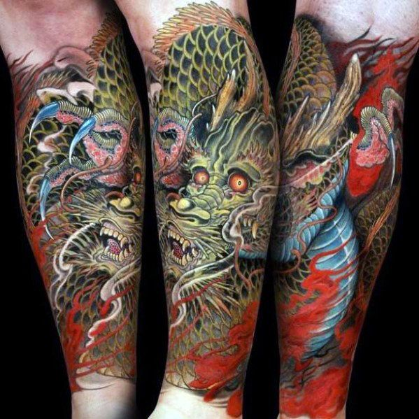 Chinese Dragon Guys Forearm Sleeve Tattoo Designs