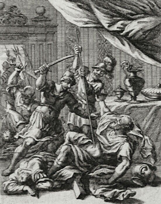 Apocrypha 192. Death of Timotheus. 2 Maccabees cap 10 v 37. Sandrart. Phillip Medhurst Collection