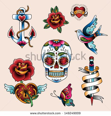 Set of traditional color tattoo elements - stock vector