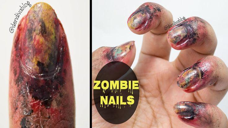 Zombie Nail Art | Halloween Nails  #halloween #halloweenmakeup #halloweennails #halloweennailart #easyhalloweennails #halloweennaildesign #zombie #zombienails #zombiemakeup #zombienailart