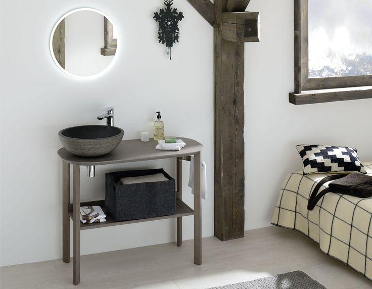 Meuble salle de bains en chêne massif avec vasque à poser en pierre Sacha de Sanijura