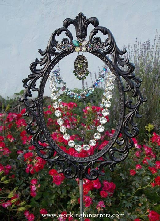 Whimsical garden art Beaded sun catcher recycling a mirror frame. I bet this would be beautiful!