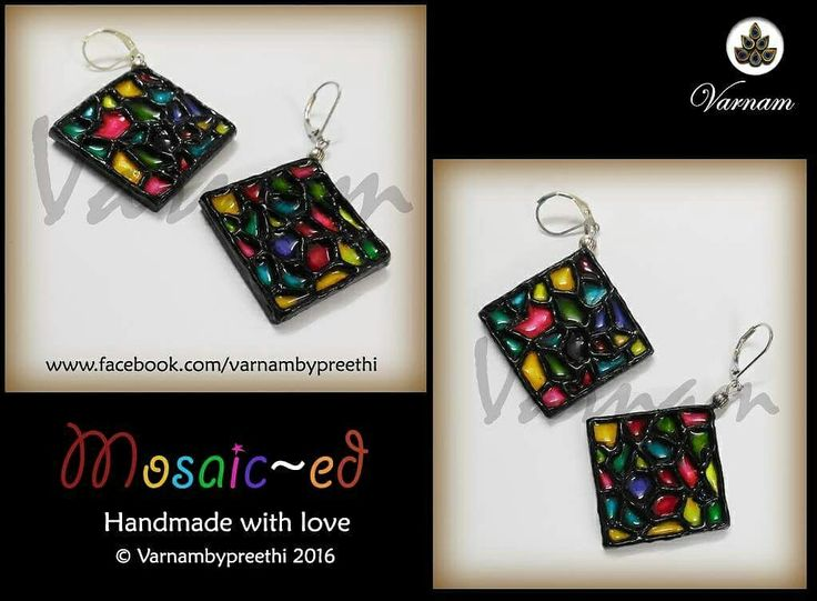 Keeping it simple in description! Code name: Mosaic-ed Bringing out the mosaiced pattern on a handmade paper based earrings! #handmade #mosaiced #earrings #varnambypreethi #handpainted #paperbase #chennai #accessories #jewelry #resincasted #waterproof #handmadelove